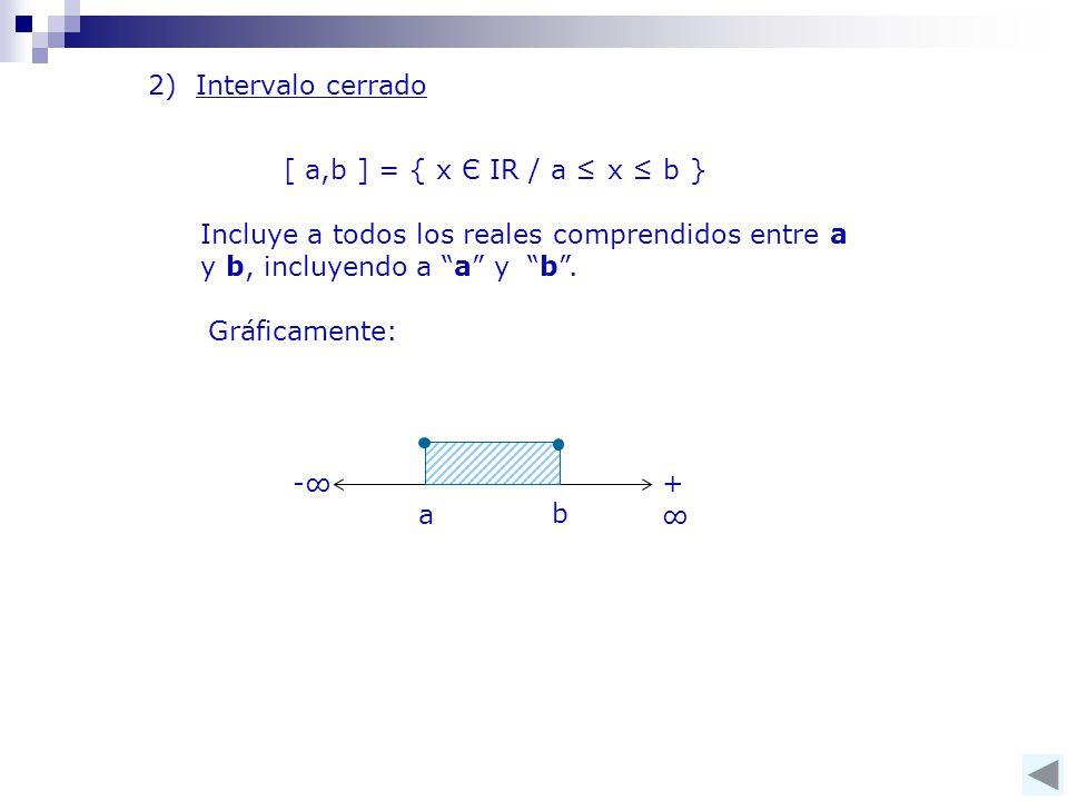 2) Intervalo cerrado [ a,b ] = { x Є IR / a ≤ x ≤ b } Incluye a todos los reales comprendidos entre a y b, incluyendo a a y b .